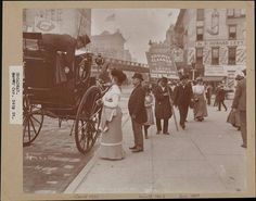 Herald Square street scene, woman boarding carriage, view to the northwest, c1901. Photo by Byron and Company