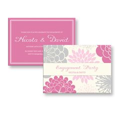 Elegant Personalized Engagement Party Invitations Pink and Grey Flower Theme Digital File DIY by Invites4All on Etsy https://www.etsy.com/listing/165330142/elegant-personalized-engagement-party