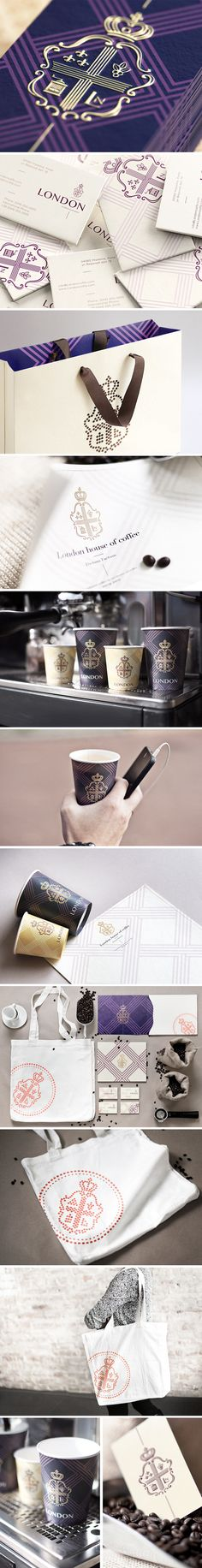 Coffee House London branding. Very cohesive collection and I really love the color choices. It makes the collection feel royal and regal.