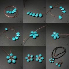 Flower Turquoise Pendant DIY, jewelry DIY  http://tech.beads.us/details-Flower-Turquoise-Pendant-2885.html