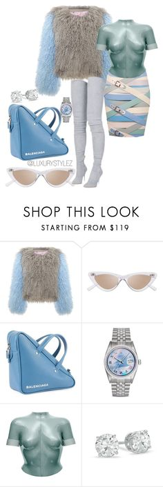 """LUXURYSTYLEZ  WOMENS FASHION ,WINTER FASHION,HOLIDAY FASHION"" by luxurystylez on Polyvore featuring Le Specs, Balenciaga, Rolex, Balmain and Marina Hoermanseder"