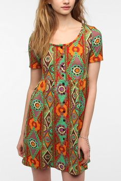 Urban Renewal Short-Sleeved Babydoll Dress Online Only  I'd wear as a tunic
