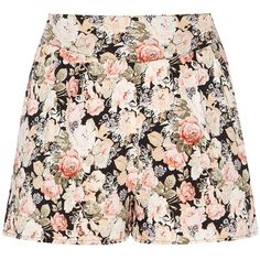 Black Floral Print Shorts ($12) ❤ liked on Polyvore featuring shorts, skirts, bottoms, floral, flower print shorts, mini shorts, floral printed shorts, floral print shorts and floral shorts