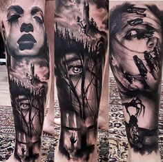 Horror tattoos on Pinterest | Horror movie tattoos Halloween tattoo ...