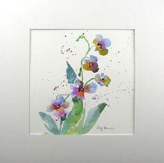 Abstract Watercolor Original Watercolor Orchid Watercolor