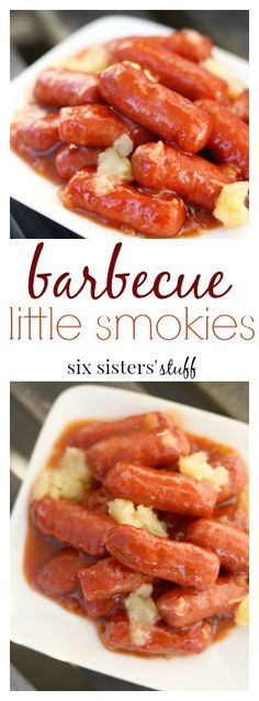 Barbecue Little Smokies from Six Sisters' Stuff | The perfect holiday appetizer or tailgate food. This recipe also makes quite a bit, so we make it when we know the whole family will be around!