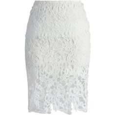 Chicwish Charme Crochet Lace Pencil Skirt in White ($38) ❤ liked on Polyvore