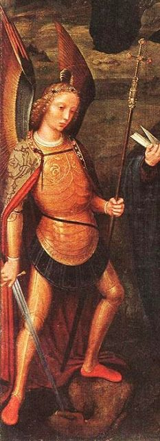 Archangel Michael, St Andrew & St Francis of Assisi detail, Adriaen Isenbrandt.