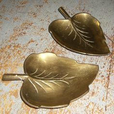 Brass Leaf Dishes, Set of Two, Fall Decor. $11.75, via Etsy.