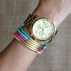 Gold tube bracelets - Tales and handmade