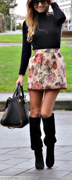 Such a cute way to wear a Spring skirt when the weather is still chilly.