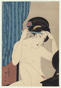 Toyokuni III/Kunisada (1786 - 1864) Japanese Woodblock Reprint Shaving the Eyebrows