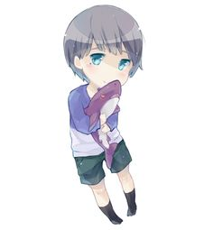 Free! ~~ Cuddling a sharkie toy, chibi Nitori is kawaii!!