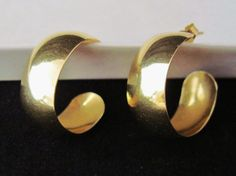 14K Gold Pair of Hoop Earrings Pierced with Gold by CrystalCoaster