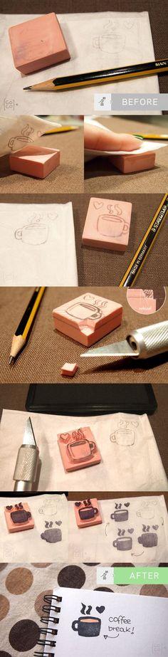 How to do Rubber Stamps!  http://blog.cocolacoquette.com/diy-haciendo-nuestros-propios-sellos-de-goma-carving-rubber-stamps/