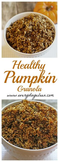 Healthy Pumpkin Granola is gluten-free and easy to prepare. Great on its own or in an acai bowl or yogurt parfait