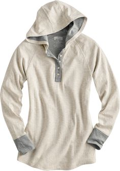 Duluth Trading's Double Soft Hoodie uses two lightweight layers knit into one to create one incredibly soft and comfortable fabric with twice the insulating power of a typical tee. (small, natural or Cayenne) Casual Outfits, Cute Outfits, Casual Clothes, Fall Outfits, Henley Shirts, Sweater Weather, Autumn Winter Fashion, Look, What To Wear