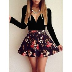 Choies Black Sweetheart Longe Sleeve Floral Print Skater Dress ($17) ❤ liked on Polyvore featuring dresses, multi, floral printed dress, skater dress, longsleeve dress, long-sleeve skater dresses and long-sleeve floral dresses
