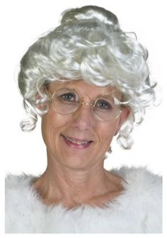 If you are looking to dress in a Mrs Santa Claus Costume you'll find plenty of gorgeous Mrs Claus Costumes and all the accessories for a Merry Christmas. Mrs Santa Claus Costume, Mrs Claus, Curly Bangs, Curly Hair Styles, Granny Glasses, Pulled Back Hairstyles, Sparkling Eyes, Christmas Costumes, Christmas Clothes