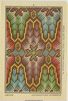 Wonderful Bargello pattern from Ramzi's Blog. The colors are brighter than what modern needleworkers might use.  I suspect this was so the pattern was more legible.