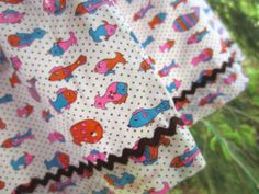 Vintage Apron Colorful Whimsical Fish on Purple by corrnucopia, $6.00