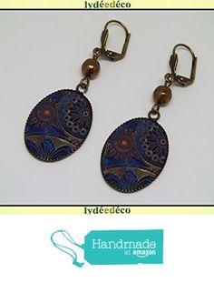 Boucles d'oreilles rétro résine Rosaces marron bleu laiton bronze perles verre pendentifs 18x25mm attaches coquillage à partir des Lydee Deco https://www.amazon.fr/dp/B073XPY76T/ref=hnd_sw_r_pi_dp_A5sAzbH6G41D8 #handmadeatamazon