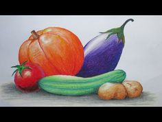 How to Draw Vegetables with Oil Pastel. Watch detail Color information on the video. Oil Pastel Paintings, Oil Pastel Drawings, Oil Pastel Art, Colorful Drawings, Oil Pastels, Art Drawings For Kids, Drawing For Kids, Easy Drawings, Artists For Kids