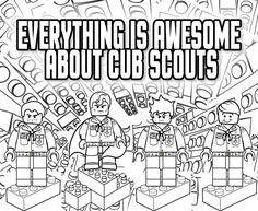 Akela's Council Cub Scout Leader Training: Everything is Awesome about Cub Scouts - Lego Coloring Page - Great for the Blue & Gold Banquet or a Regular Pack Meeting - Free Printable Clipart