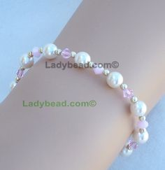 Bracelet Vintage Rose Crystal White Pearl Wedding #B15