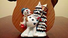 Vintage Plastic 3 D Christmas Decorations Lights Snowman Singing Caroling