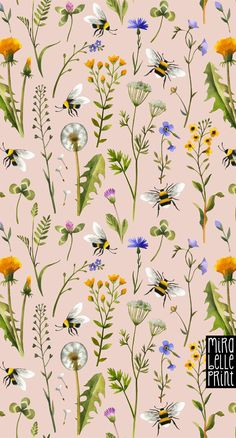 Buy custom print on demand fabric from our online collection. Or, upload your own design for a truly one-of-kind print. Iphone Background Wallpaper, Flower Wallpaper, Pattern Wallpaper, Wallpaper Ideas, Phone Backgrounds, Bee Illustration, Botanical Illustration, Bee On Flower, Bee Design