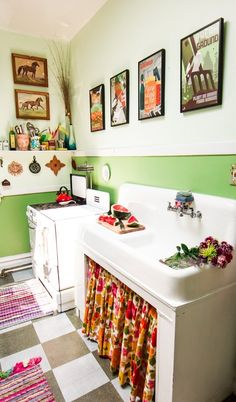there's something about this kitchen ...  Amy's Vintage Jewel Tone Apartment — House Tour