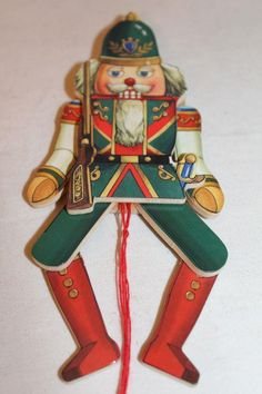 "Vtg 2-Sided Wooden Pull String NUTCRACKER Toy / Puppet ORNAMENT 7 1/4"" ~ (12) in Collectibles, Holiday & Seasonal, Christmas: Modern (1946-90) 
