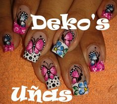 Butterfly Nail Art, Flower Nail Art, Gorgeous Nails, Pretty Nails, Nails Plus, French Tip Nails, Long Acrylic Nails, Fancy Nails, Creative Nails