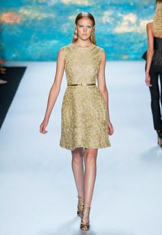 Golden Belt Over Golden Dress Trend forSpring Summer 2013.  Monique LhuillierSpring Summer 2013. #Fashion  #Accessory #Trends