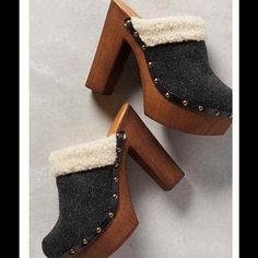 "Anthropologie Clogs Get ready to see and be seen in these! Never worn, only tried on. Fits true to size. Wool upper. Shearling lining. Leather insole. Synthetic sole. Made in Italy. 5"" wood heel; 1.5"" platform Anthropologie Shoes Platforms"