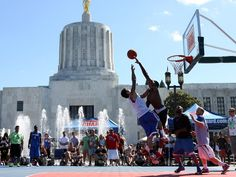 Late July-early August annual Salem Hoopla Oregon National Guard Hoopla is the largest 3-on-3 street basketball tournament in the state, with more than 800 teams competing in games played on 60 courts located on Court and State streets in the shadow of the Oregon State Capitol building.