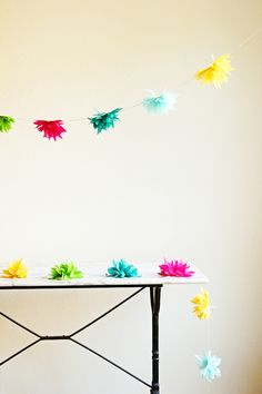 DIY tissue flower garland