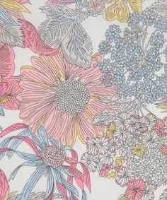 Angelica Garla Tana Lawn - This is a detailed design of various cultivated flowers designed by the Liberty fabric design studio for spring summer 2009. It has been rescaled and recoloured for the classic tana range of 2011.