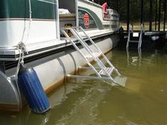 Side Mount Pontoon Boat Ladders for People and Dogs Best Boats, Cool Boats, Pontoon Boat Accessories, Ranger Boats, Boat Safety, Aluminum Boat, Boat Stuff, Speed Boats, Lake Life