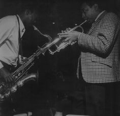 Hank Mobley and Lee Morgan, with James Spaulding looking on during Mobley's A Slice of the Top session, Englewood Cliffs NJ, March 181966 (photo by Francis Wolff)