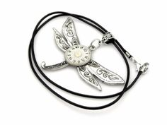 Fun-Dragonfly-Pendant-Silver-Dragonfly-Necklace-Clockwork-Insect-Pendant