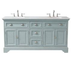 Home Decorators Collection Sadie 67 in. Double Vanity in Antique Blue with Marble Quartz Vanity Top in White-1666700350 - The Home Depot