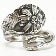 Daisy and Aster Ring Spoon Ring Sterling Silver Daisy by Spoonier