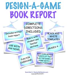 Students create games based on books they're reading. This VERY popular project brings families together because they have to play in order for their children to earn points! As they play the games in class, they learn about books their friends read. Complete instructions included! priced iitem