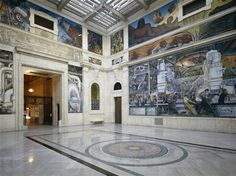 """Diego Rivera's picture """"Detroit Industry"""" inside the Detroit Institute of Arts."""