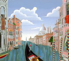 """Thomas McKnight """"Venetian Evening"""" Giclée Canvas Signed and Numbered w/COA Thomas Mcknight, Art Thomas, Watercolor Pictures, Travel Illustration, Naive Art, New Artists, Fine Art Gallery, Clipart, Art Museum"""