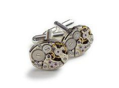 Steampunk cufflinks vintage Bulova 23 ruby jewel petite oval watch movements mens accessory wedding silver cuff links Steampunk Nation 1156