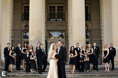 hall of springs, black bridesmaid dresses, feather bouquet, fall wedding #weddings #fallweddings