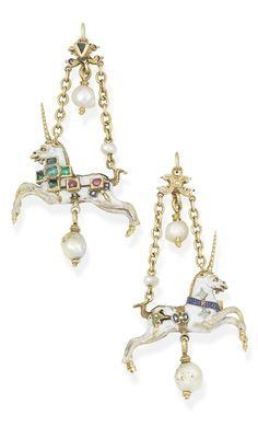 A Neo-Renaissance gold, enamel and gem-set unicorn pendant, 19th century. The polychrome enamel unicorn with table-cut emeralds and rubies in box collet-settings, suspended from a scrolling blue enamel and table-cut emerald surmount, via cable-link chains, with a seed pearl accent and two pearl drops, mounted in gold.
